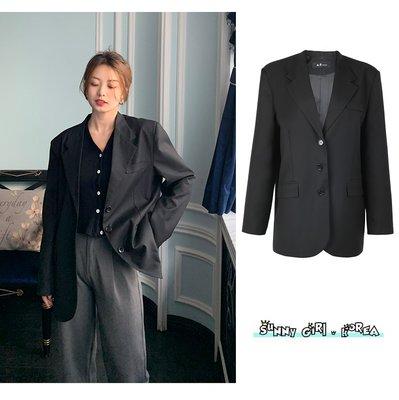西裝外套*Sunny Girl*韓國寬鬆英倫風翻領黑色小西服外套 2021一月新款 - [JL0454]