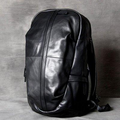 後背包真皮雙肩包-黑色牛皮大容量休閒男女包包73vz10[獨家進口][米蘭精品]