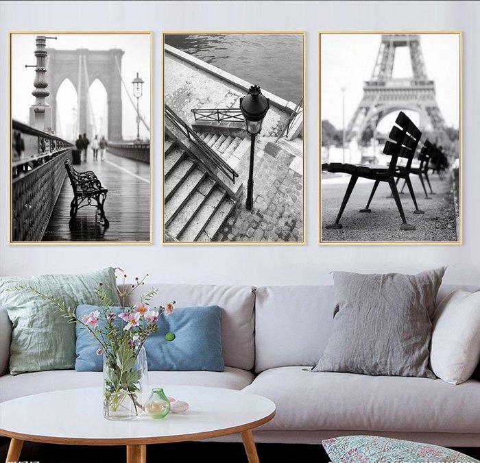 三幅一組油畫布  歐美懷舊風景黑白建築 畫芯/畫布/30X40☺暖暖屋☺傢居藝術館