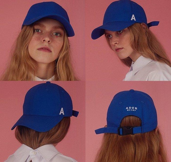 SEYES  {韓國空運} 百搭街頭中性A字刺繡藍色棒球帽(男女皆可)