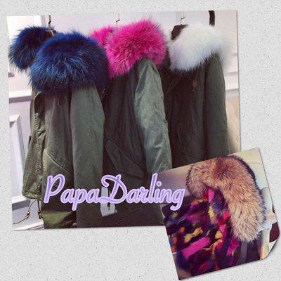 PapaDarling 彩色大狐狸毛皮草軍裝外套 來自星星的你 千頌伊 sly n3b moussy 浣熊毛大衣