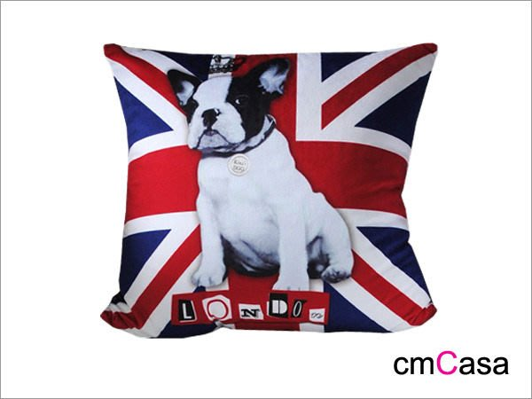 = cmCasa = [3280]經典英倫設計風 英國旗鬥牛犬抱枕套 雙色可選新發行