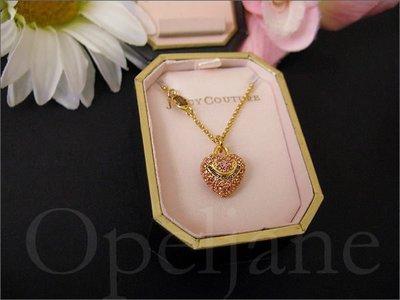 官網  Juicy Couture Necklace 金色鍍金粉紅色愛心墬飾項鍊禮盒裝 免運費 愛Coach包包+小禮物