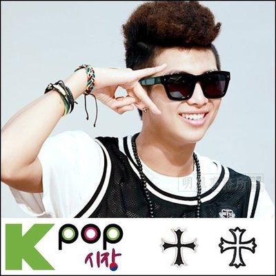 韓國進口ASMAMA官方正品 防彈少年團 BTS Rap Monster 金南俊 同款花邊十字耳釘耳環 (單支價)