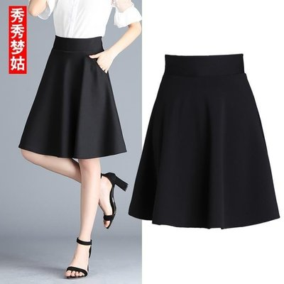 哆啦本鋪 半身裙女夏新款裙子黑色高腰短裙中長款春百褶裙A字裙大擺裙 D655