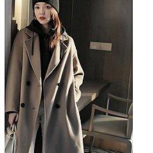 『 筱涵 日系美學衣飾 』超值性價比逆天高支全羊毛時髦落肩袖颯美駝灰色中長款雙面呢大衣