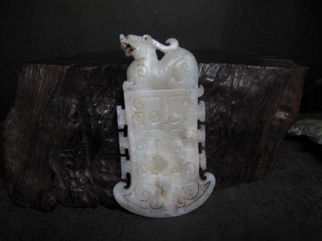 和闐玉雕◎ 瑞獸斧型珮