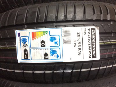 台北永信輪胎~普利司通輪胎 T005 205/55R16 91W 歐洲製 四輪含安裝 四輪定位