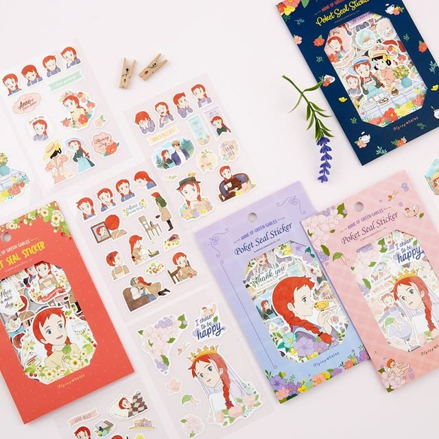 ♀高麗妹♀韓國 Anne of green gables《清秀佳人》紅髮安妮 Sticker 裝飾貼紙組4入(預購)