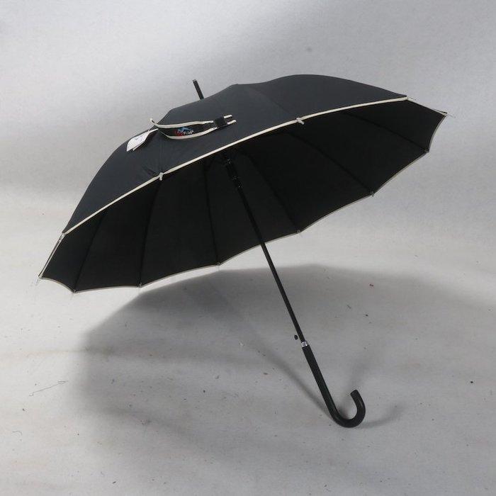奇奇店-55cm皮柄黑色基本簡約款包邊12骨自動人用雨傘#加固 #小清新 #晴雨兩用