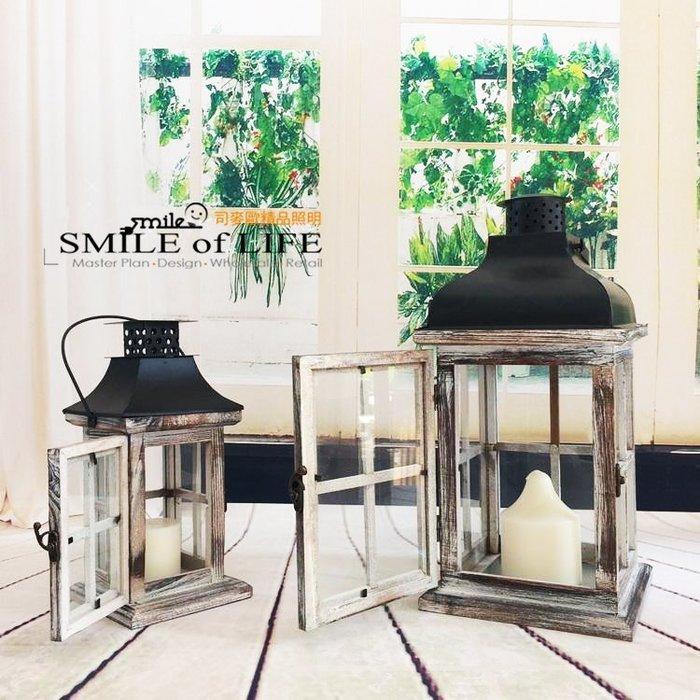 美式鄉村燭台 擺件 木質Loft舊風燈防風蠟燭台 家居用品裝飾S58 (小) ☆SMILE創意商品批發
