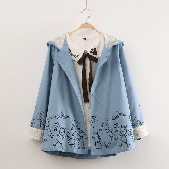 【1835】外套  日系森女系可愛塗鴉印花外套☆*藍荳荳小舖*☆(現貨)