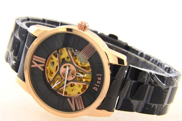 (六四三精品)大錶徑4.0公分.雙面鏤空.金色錶殼黑色烤漆錶帶.自動上鍊機械錶.4種款式可任選