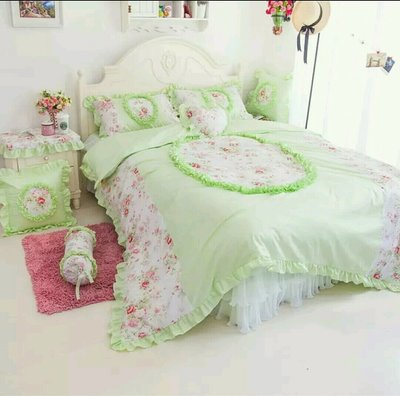 粉紅玫瑰精品屋~韓式公主綠色蕾絲床組~雙人特大