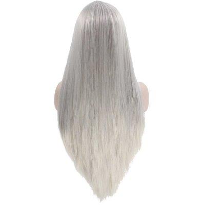 新款上新手織前蕾絲假發中分長直發銀色自然逼真啞光假發 Lace Front Wig