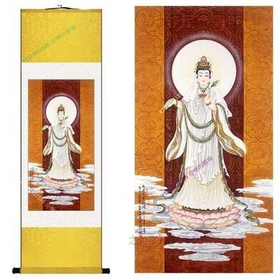 【140x45cm】觀音自在法像菩薩佛教結緣掛畫已裝裱開運招財【190107_1338】絲綢畫