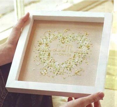 2~十字繡材料包~十字繡材料包——十字繡套件 客廳臥室3D珠繡刺繡結婚 綠色的心精准印花