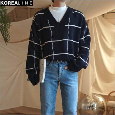 搖滾星球韓國代購  V領格紋落肩針織毛衣 / 4色 EF991964