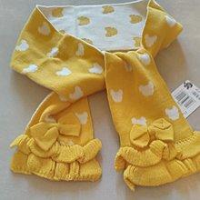 韓 熊熊圖案   蝴蝶結  可愛保暖圍巾 (黃色)