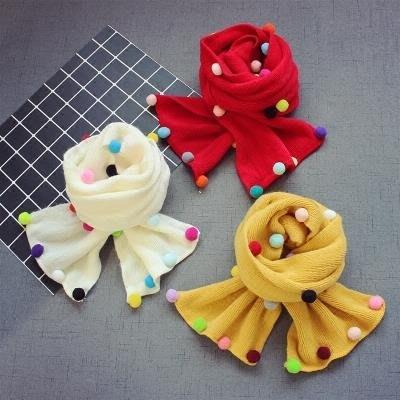 兒童寶寶毛線圍巾1男童加厚保暖針織圍脖韓新款2女童彩球圍巾 Biglove