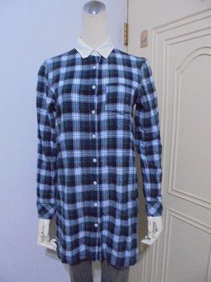 日本grove品牌綠系格紋法蘭絨棉質長版襯衫(適S~M)*290元直購價*
