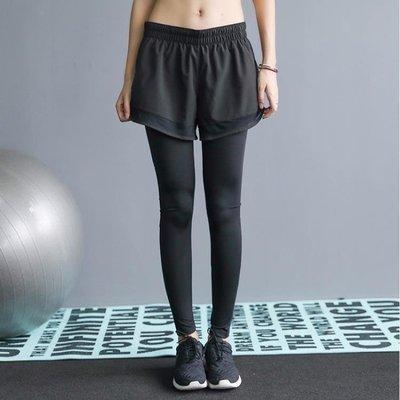 日和生活館 健身褲女ANNERUN健身褲女彈力緊身外穿跑步運動假兩件長褲高腰健美瑜伽褲S686