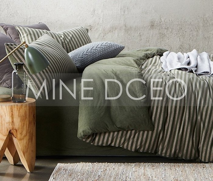 【MINE DECO】【雙人加大】日式天竺棉裸睡條紋四件式床組/被套/床包/床笠/枕套/床單(免運現貨)M0318