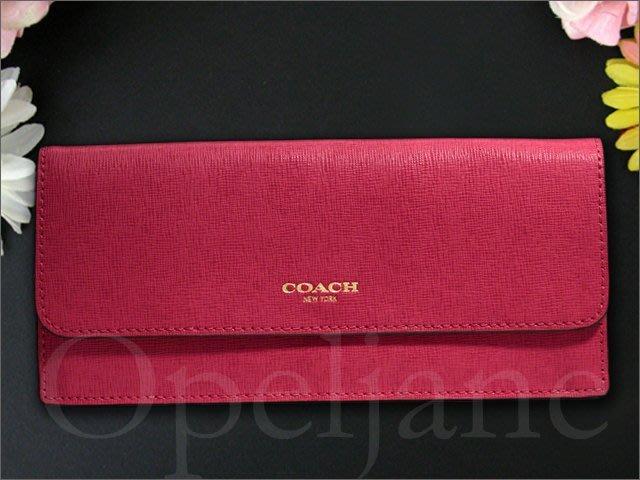 原廠包裝 真品 Coach 49350 Saffiano 防刮真皮 暗桃紅色皮革簡易輕便長夾 皮夾 有零錢袋可放卡片紙鈔