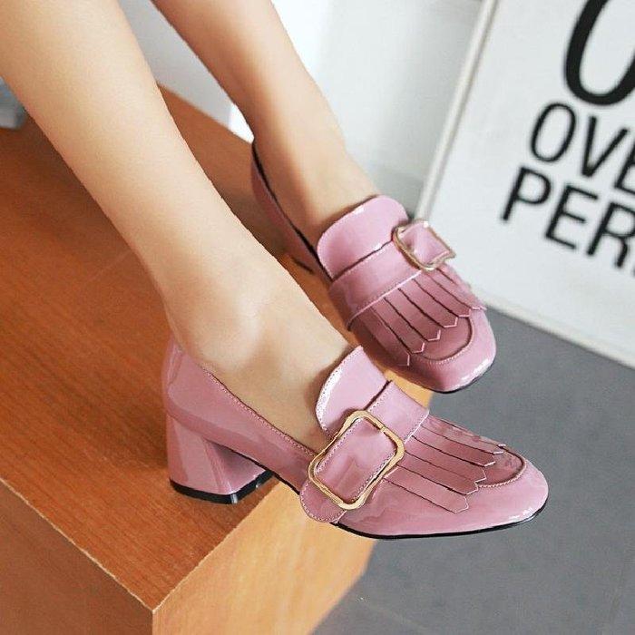 春季新款歐范方頭5CM中跟粗跟鞋背方扣流蘇酒紅淡粉淺口女單鞋女