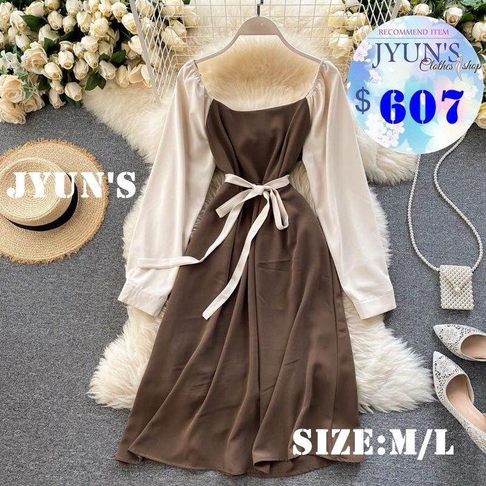 JYUN'S 初秋新款法式氣質復古方領設計感撞色拼接泡泡袖中長款長袖洋裝連身裙 3色M/L預購