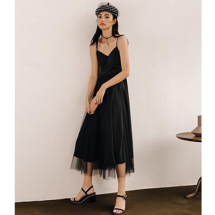 背心吊帶百搭v領黑色吊帶紗裙長款連衣裙夏禮服仙女夏2019新款度假沙灘裙