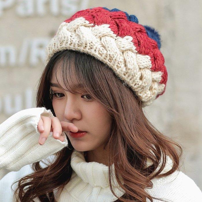 帽子女秋冬天lolita燒餅貝雷帽保暖針織韓版可愛南瓜帽毛線蓓蕾帽夏季外出必備遮陽帽
