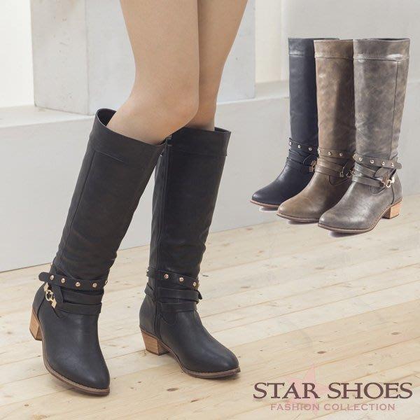 STAR SHOES-時尚街頭鉚釘皮帶金屬扣飾長靴#22213