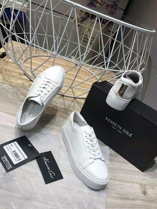 Hot shop  kenneth cole 明星同款 牛皮厚底增高小白鞋 平底休閑板鞋