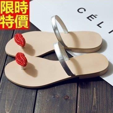 平底涼鞋 夾腳拖鞋-水鑽紅唇個性設計女休閒鞋子67d23[獨家進口][米蘭精品]