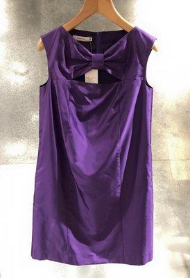 全新竇騰璜紫色緞面蝴蝶結洋裝