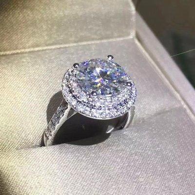 真金雙環微鑲結婚鑽戒莫桑鑽女款3克拉適合莫桑鑽大品牌款式設計 精工爪鑲結婚 訂婚可訂做18k金 純銀鍍鉑金莫桑鑽寶