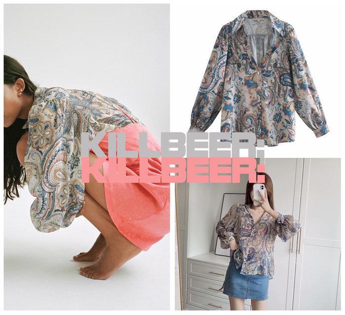 KillBeer:身為名媛的自傲之 歐美復古華麗巴洛克古董感變形蟲圖騰印花V領低胸翻領泡泡袖寬鬆襯衫上衣A080208