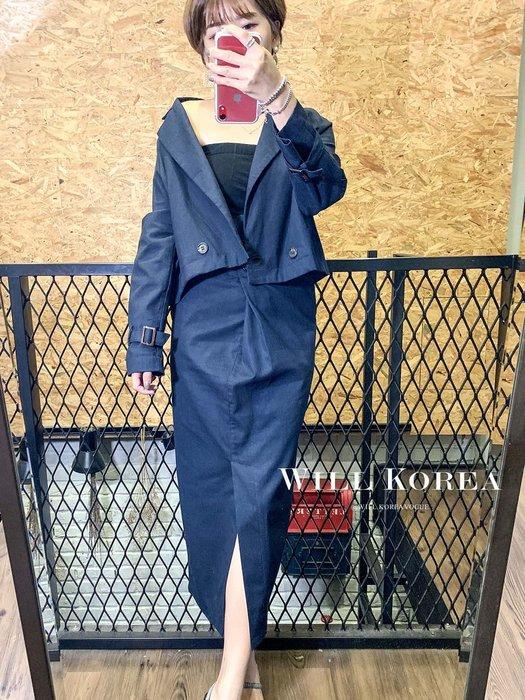 【 WILL韓 】短西外麻料中裙二件套