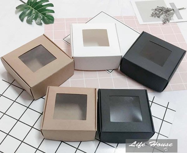 開窗紙盒8.5x8.5x3.5 10入牛皮紙盒 黑色紙盒 白色紙盒 飛機盒 禮品盒 手工皂盒 飾品盒  開窗紙盒 包裝盒