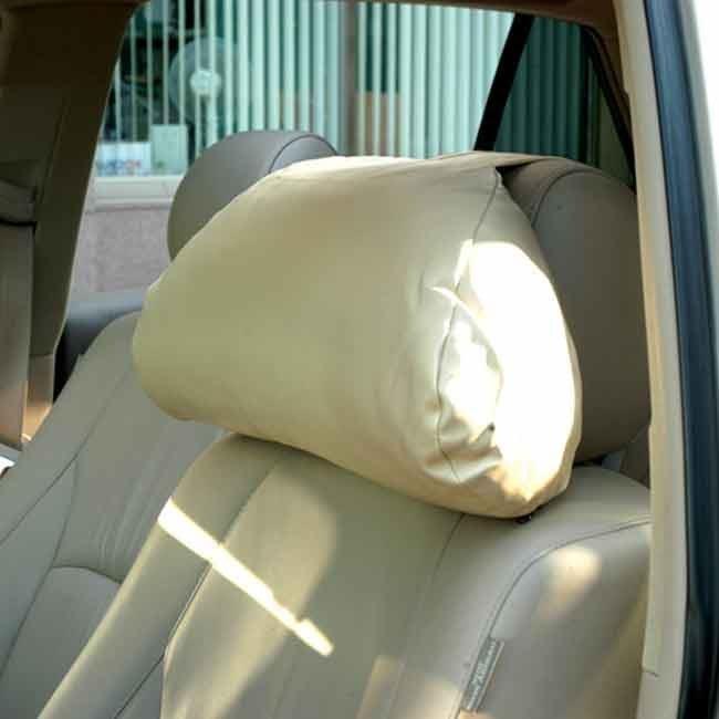 【優洛帕-汽車用品】3D護頸系列-超柔軟皮製大頭枕 車用舒適 頭頸枕 護頸枕 3023-三色選擇