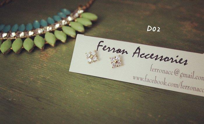 Ferron Accessories   D02  菱形鋯石耳環    訂製 Handmade 復古 歐美 黃銅