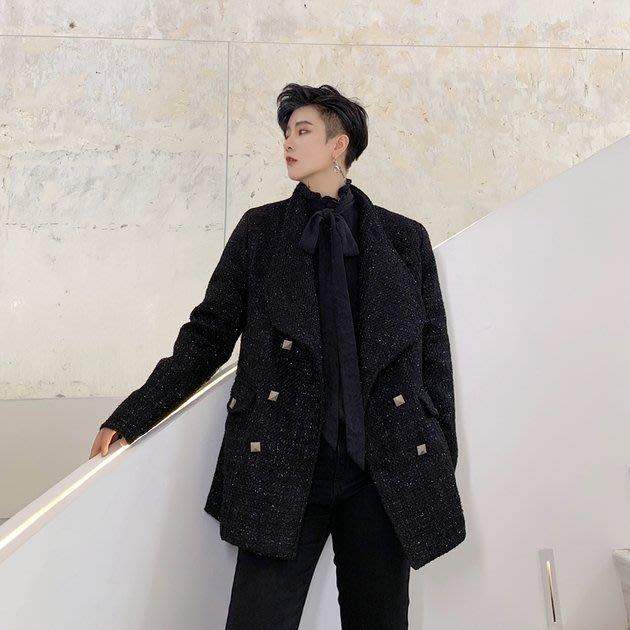 FINDSENSE 2019 秋冬上新 G19  復古粗紡大翻領外套經典潮流小西裝男裝百搭寬鬆休閒外套