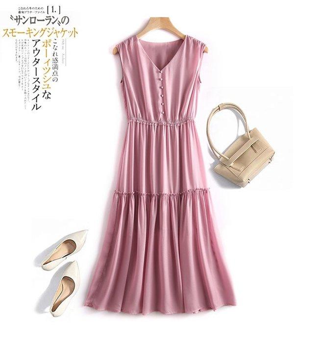 【木風小舖】V領 假排釦 小木耳邊雪紡洋裝*深藍、粉紫、漿果紅