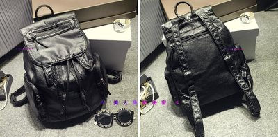 ✻美人魚的秘密✻獨家 韓國流行時尙 水洗皮 後背包  側背包