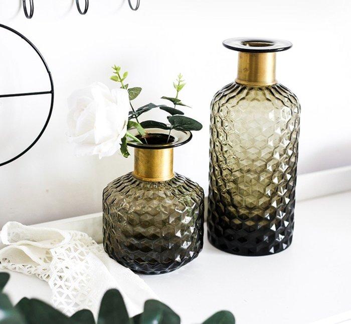 ABOUT。R 灰綠色時尚花瓶裝飾品莫蘭迪色玻璃花瓶插花水培花器桌面擺飾瓶樣品屋花瓶擺件設計師款花瓶擺件(2款可選)