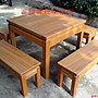 A017 {崙頂傳統原木家具行}~ 櫸木邊框實木桌...