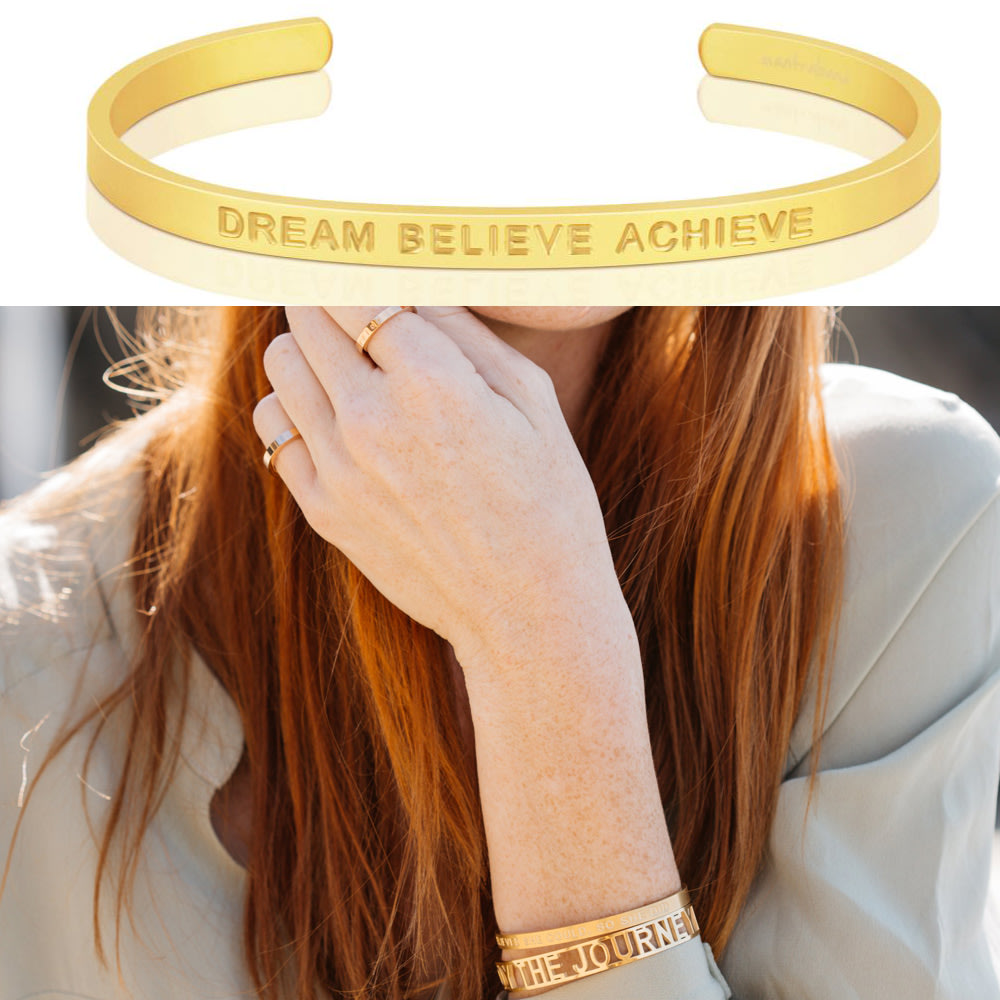 MANTRABAND Dream Believe Achieve 夢想信仰實現 寬版 霧面金色手環