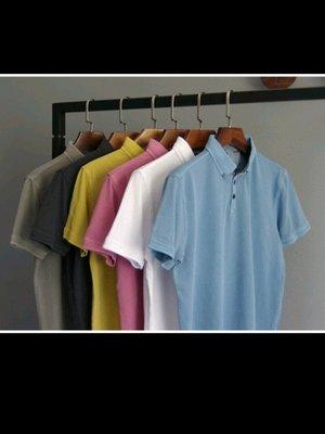 歐美品牌NO EXCESS重工水洗做舊處理 柔軟舒適 男翻領短袖POLO衫 粉紅如圖L號