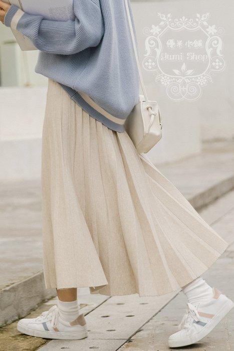 日系森林系森女顯瘦修身新品氣質純色鬆緊腰/百褶裙/中長裙/半身裙/A字裙 優米小舖+TK20J01